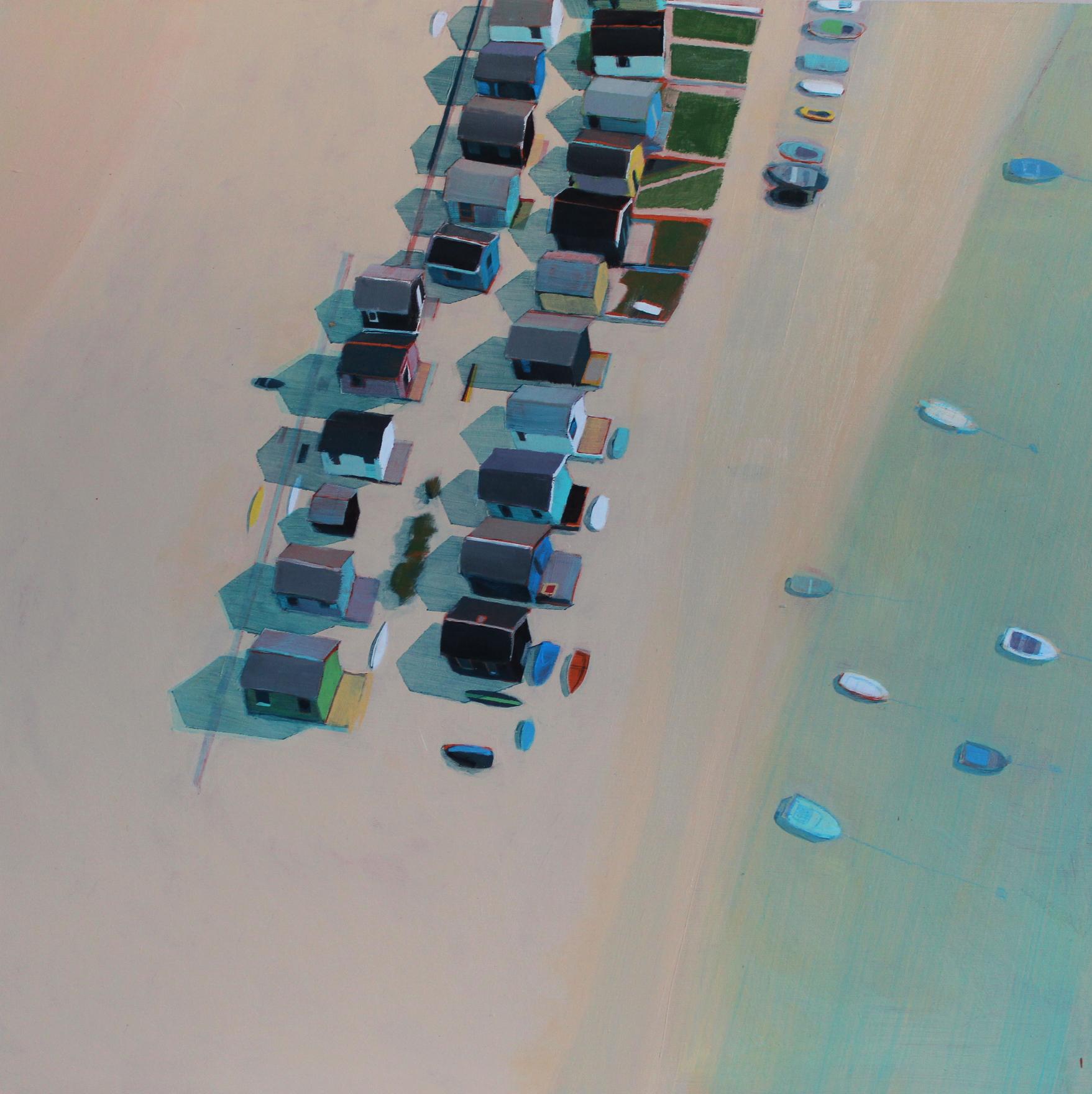 Beach huts in summer