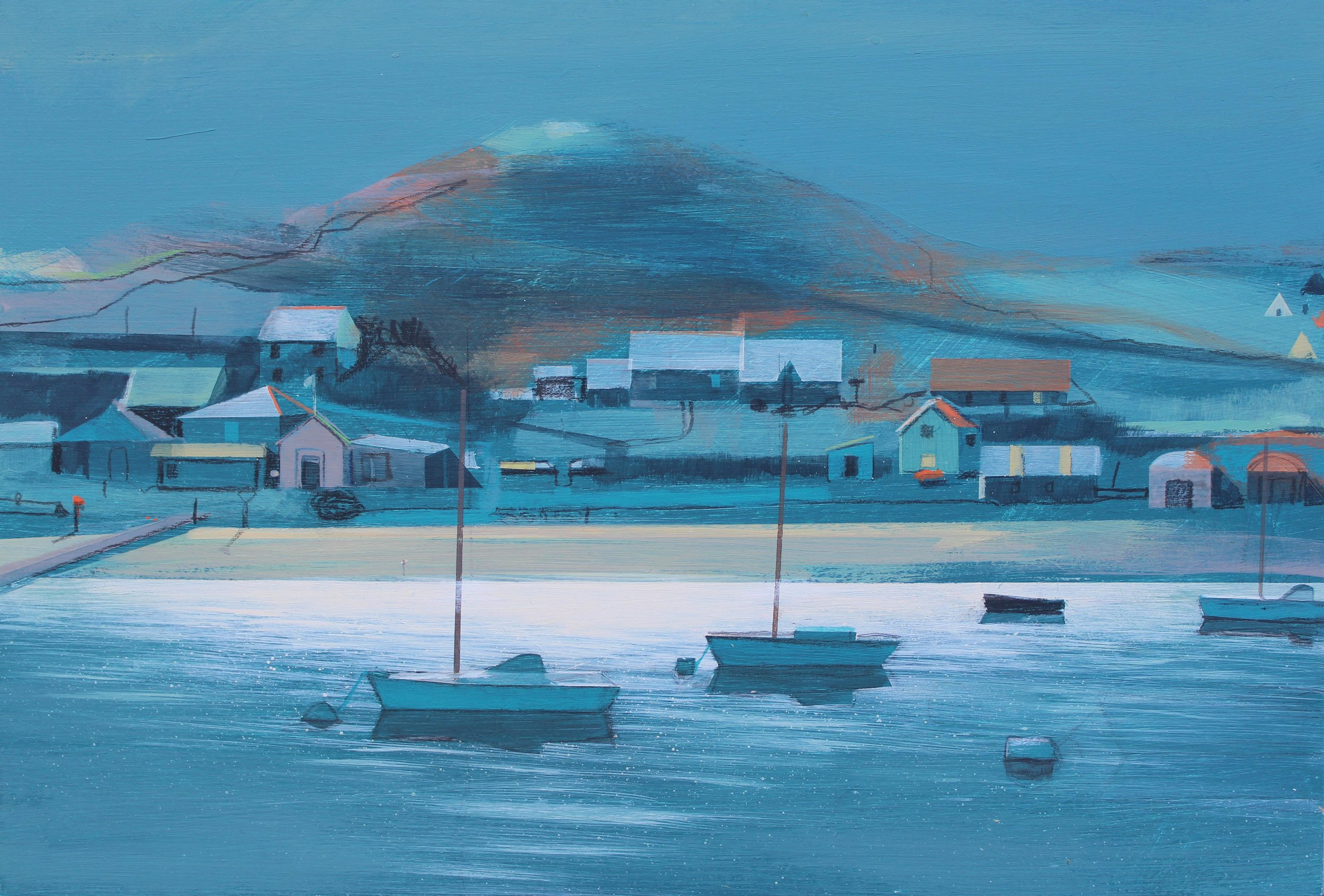 Moonlight over Brhyer, Scilly Isles, acrylic on board, 25x37 cm, £700.