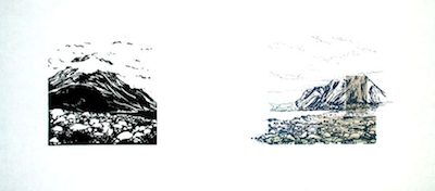 Up to Now III   Linocut, Polyester Plate Lithography, Chine Collé Framed: 12 x 21 inches