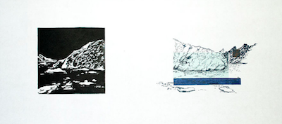 Up to Now IV   Linocut, Polyester Plate Lithography, Chine Collé Framed: 12 x 21 inches