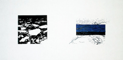 Up to Now V   Linocut, Polyester Plate Lithography, Chine Collé Framed: 12 x 21 inches