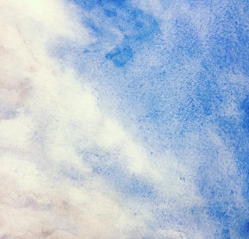 "Skylight IX original watercolor, 2017 5 x 5 "", framed 11 x 11"""