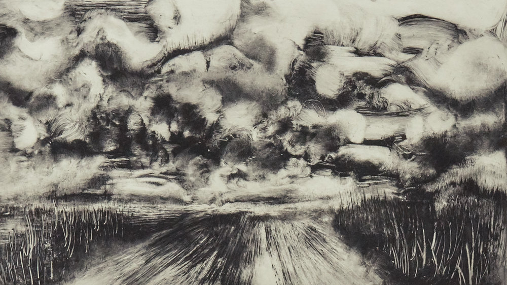 """Wall of Clouds 944 - Solar plate etching print on Hahnemuhle paper12.5"""" x 20"""