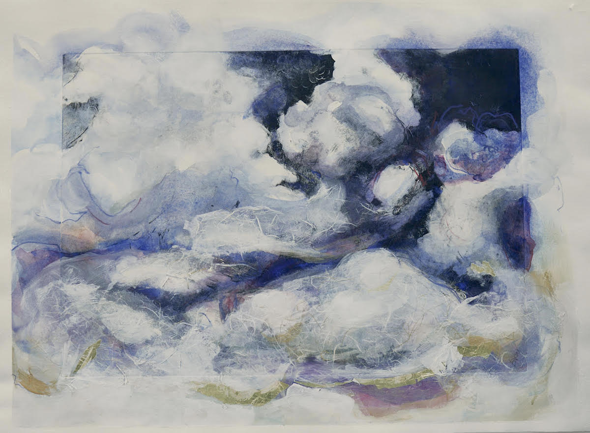 """Clouds of Joy   Solar plate etching and watercolor on archival paper 22""""x 30""""x 0.1"""", 2018"""