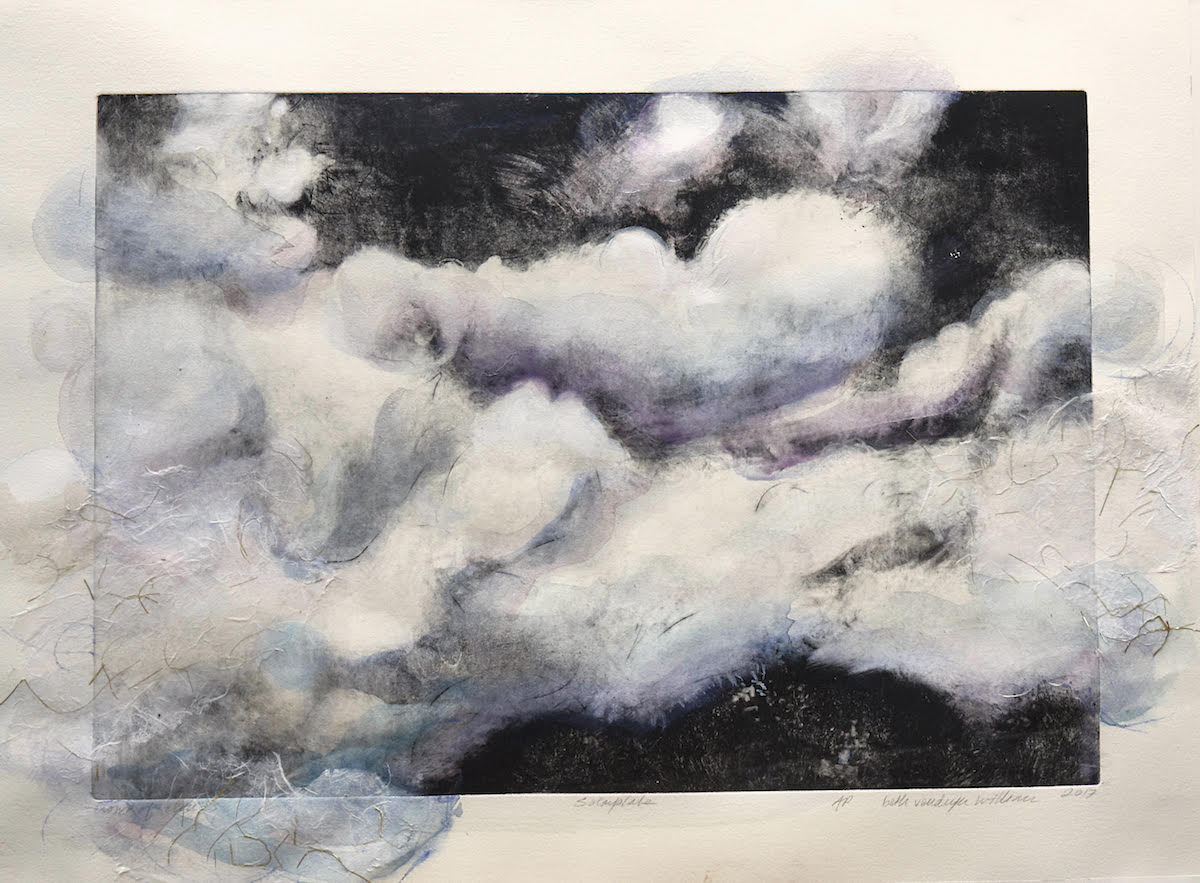 """Let the Clouds In   Solar plate etching and watercolor on archival paper 22"""" x 30"""" x 0.1"""", 2018"""