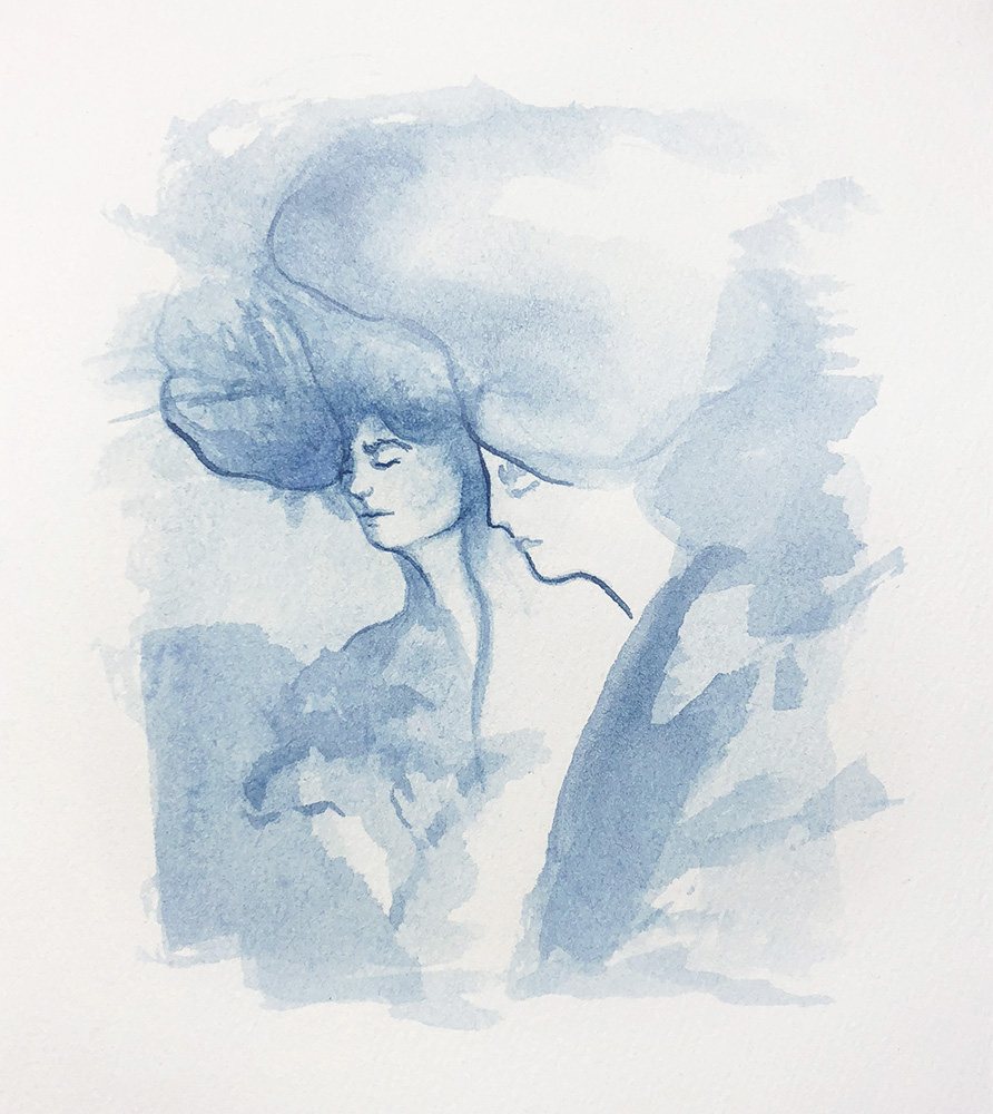 "Indigo #4   Robyn Tang Indigo Ink on Hahnemuhle Etching Paper Paper Size: 5.5""w x 6""h 2018"