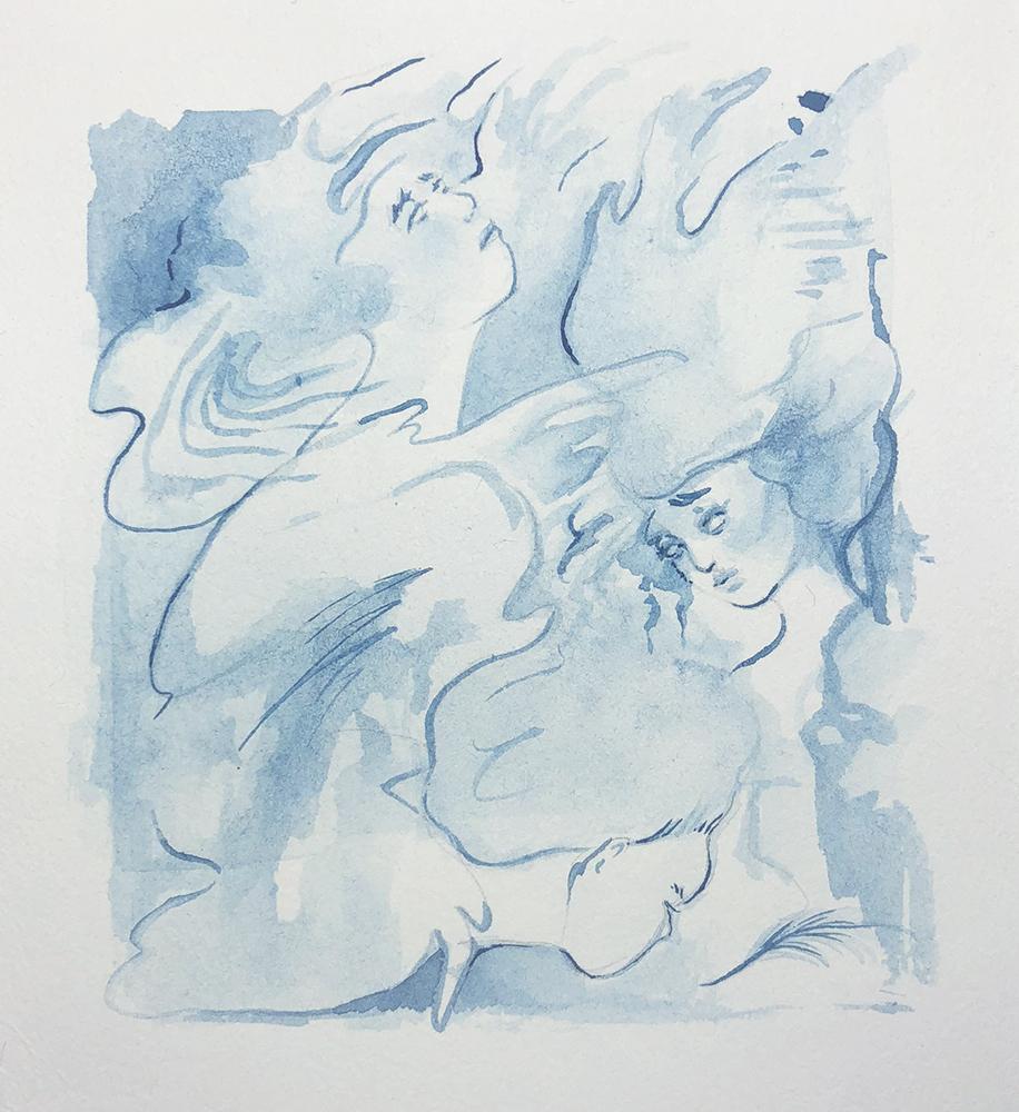 "Indigo #3   Robyn Tang Indigo Ink on Hahnemuhle Etching Paper Paper Size: 5.5""w x 6""h 2018"