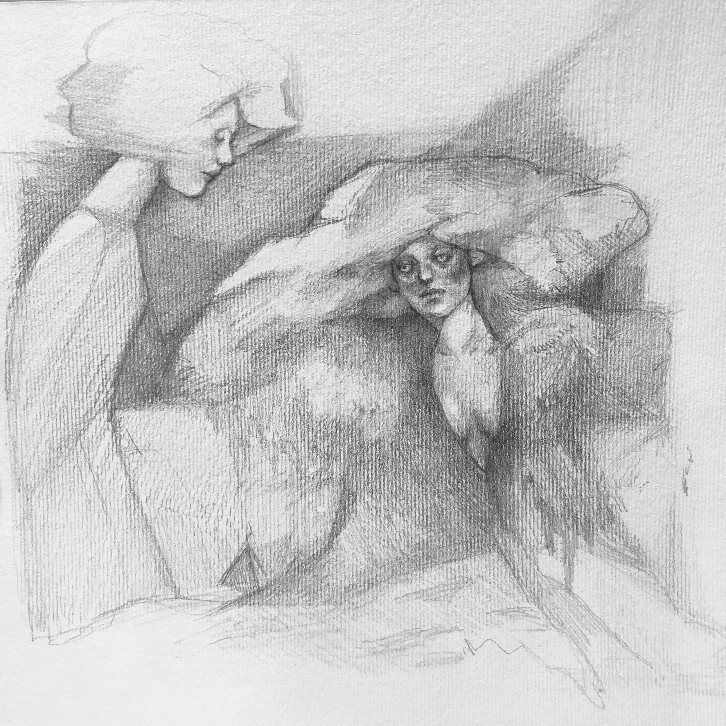 """The Conversation  Robyn Tang Pencil on Paper Paper Size: 7""""w x 6.25""""h 2018"""