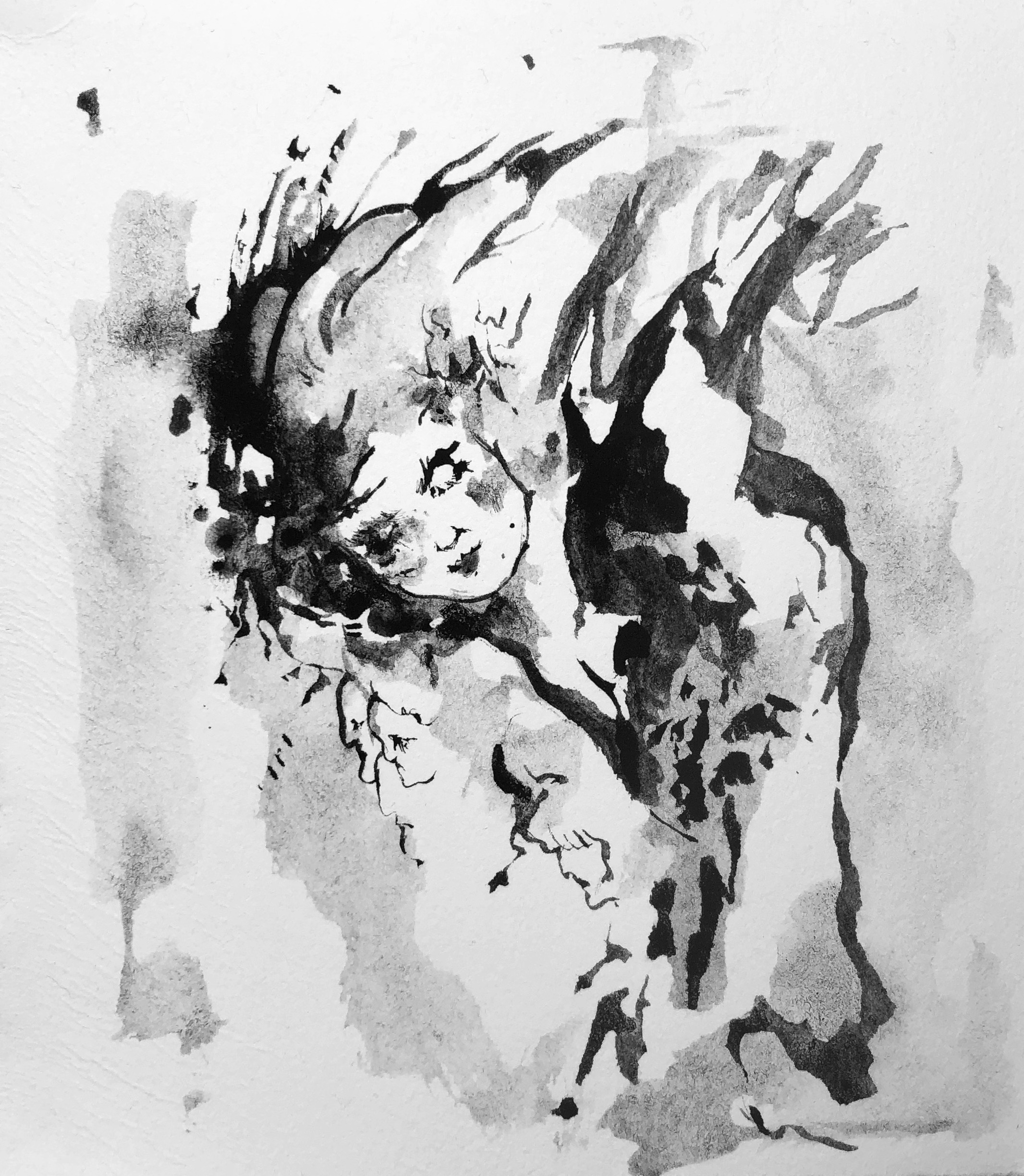 """In Dreams  Robyn Tang Black Ink on Hahnemuhle Etching Paper Paper Size: 5.5""""w x 6""""h 2017"""