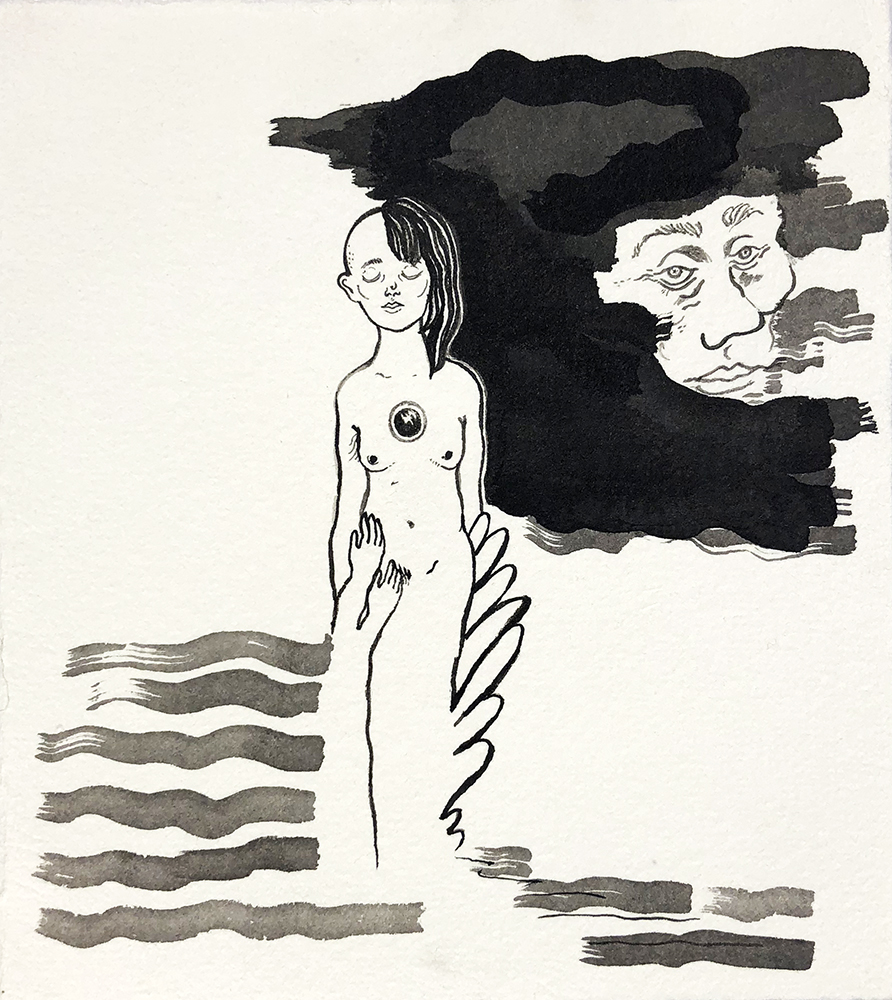 """Wave Series #3  Robyn Tang Black Ink on Hahnemuhle Etching Paper Paper Size: 5.5""""w x 6""""h 2016"""