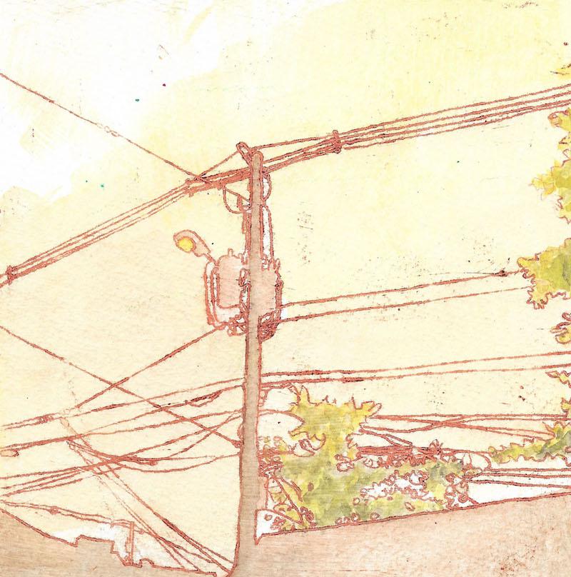 early main street oil, wax, watercolor