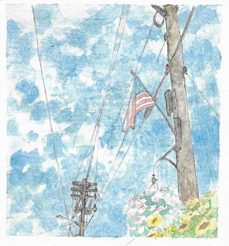 flag flowers main street watercolor, ink