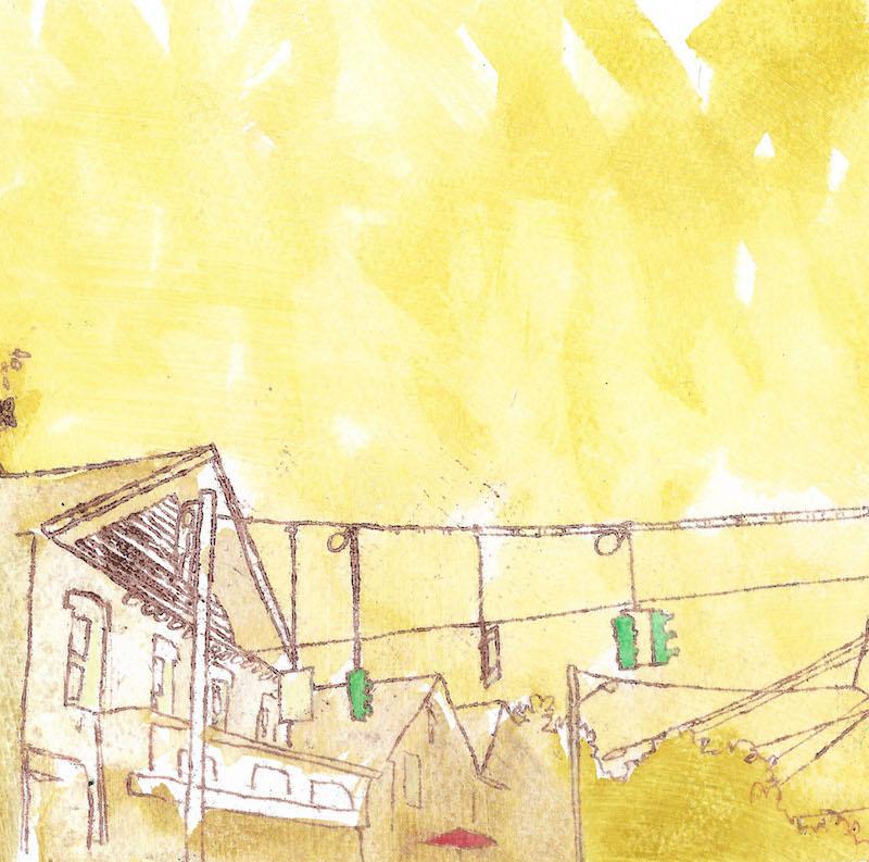 sunrise on main street  oil, wax, watercolor
