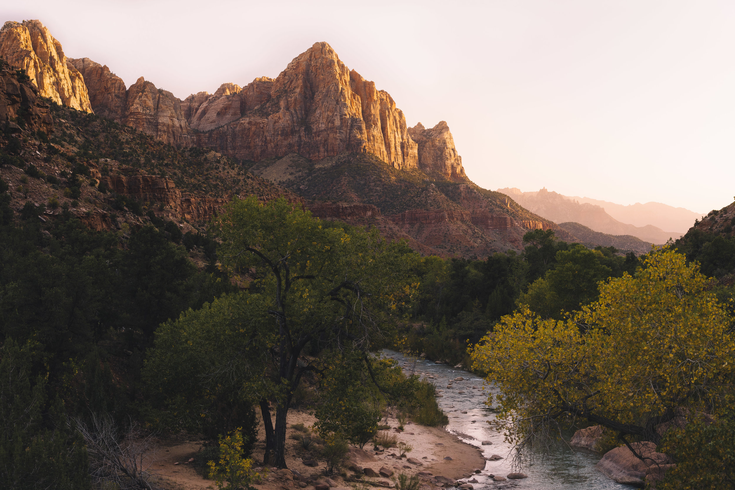 Sunset reflecting off the Watchman Tower at Zion National Park
