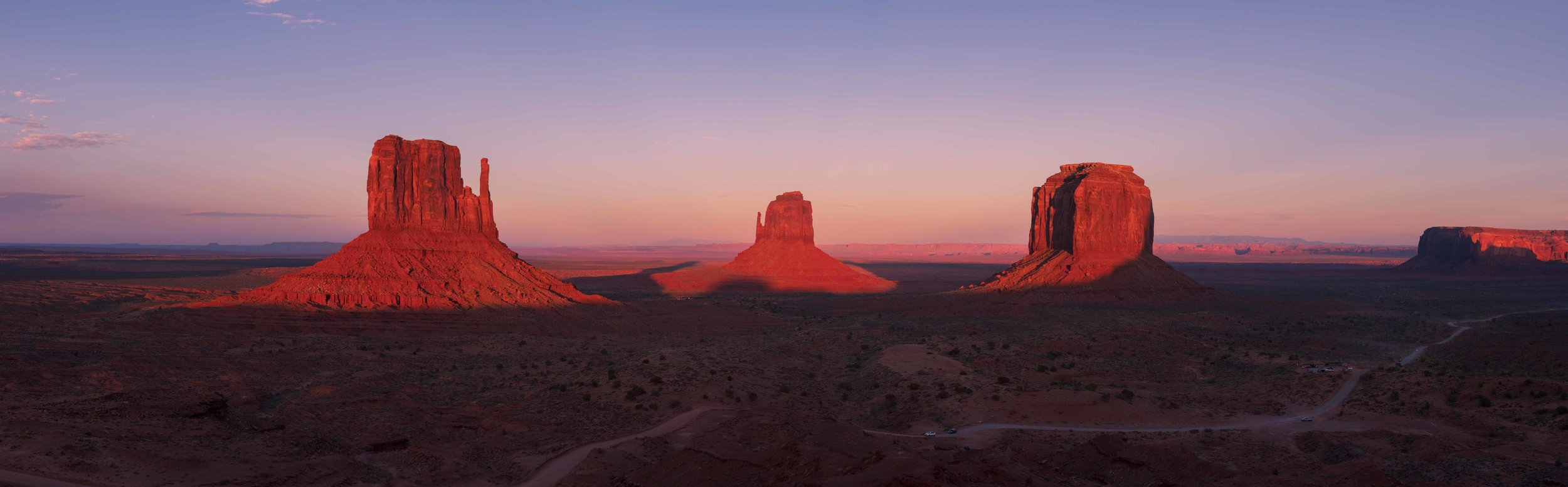 Golden sunset light hitting the famous buttes at Monument Valley