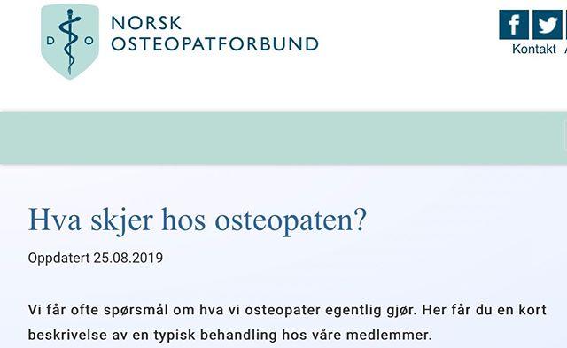 Vår osteopat på klinikken og andre osteopater får ofte spørsmål om hva de egentlig gjør. Norsk osteopatforbund har beskrevet godt hva behandling du kan forvente hos en osteopat ➡️ www.osteopati.org 👏