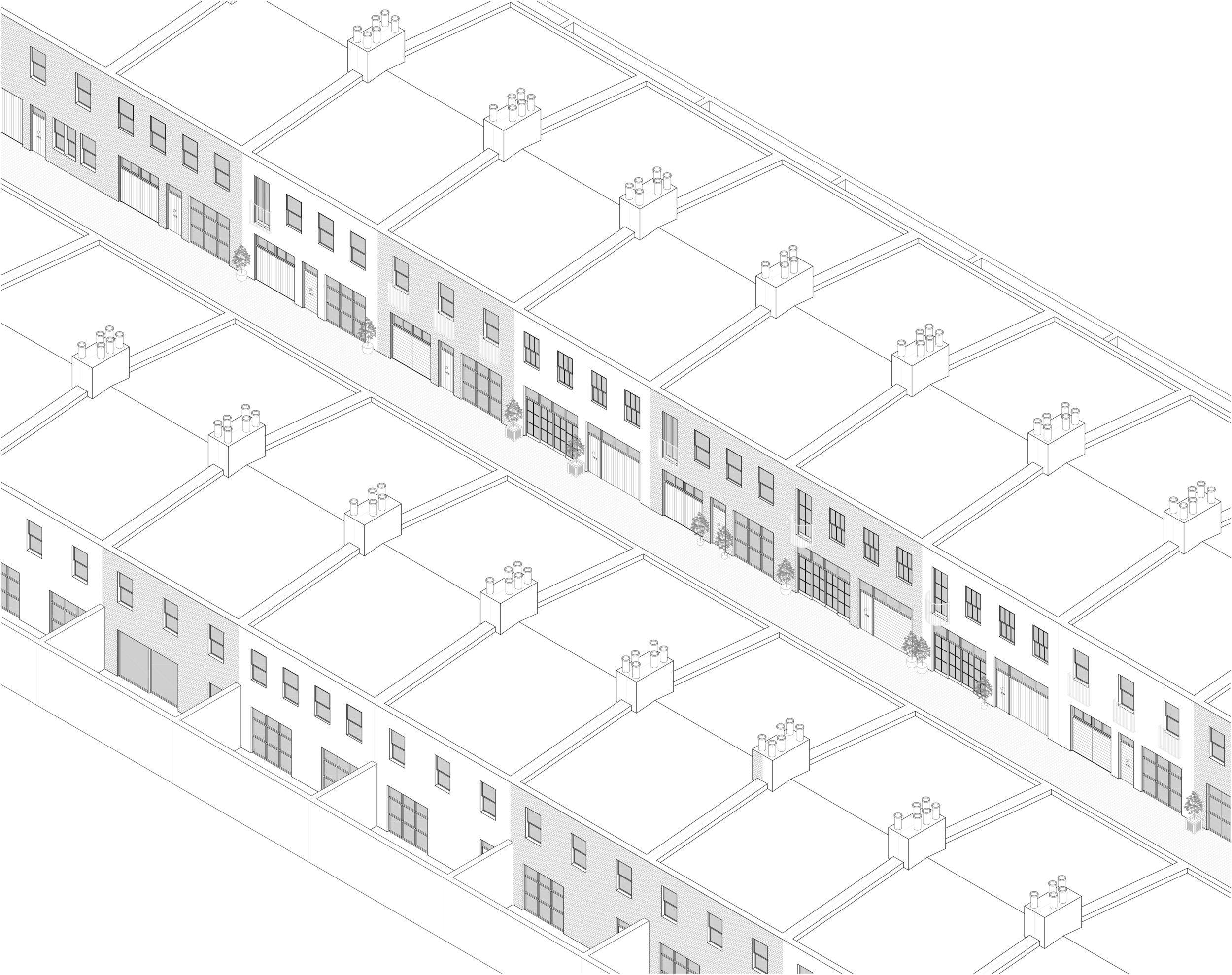 Axonometric of typical London Mews| Prime Architecture