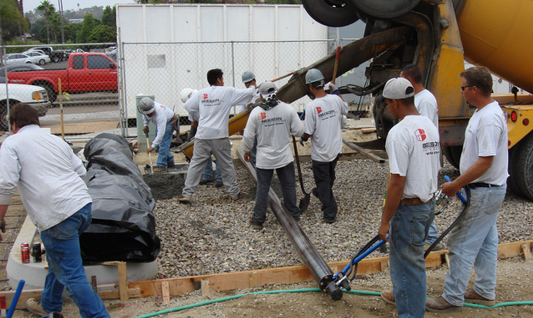 Our Crew pouring pervious concrete