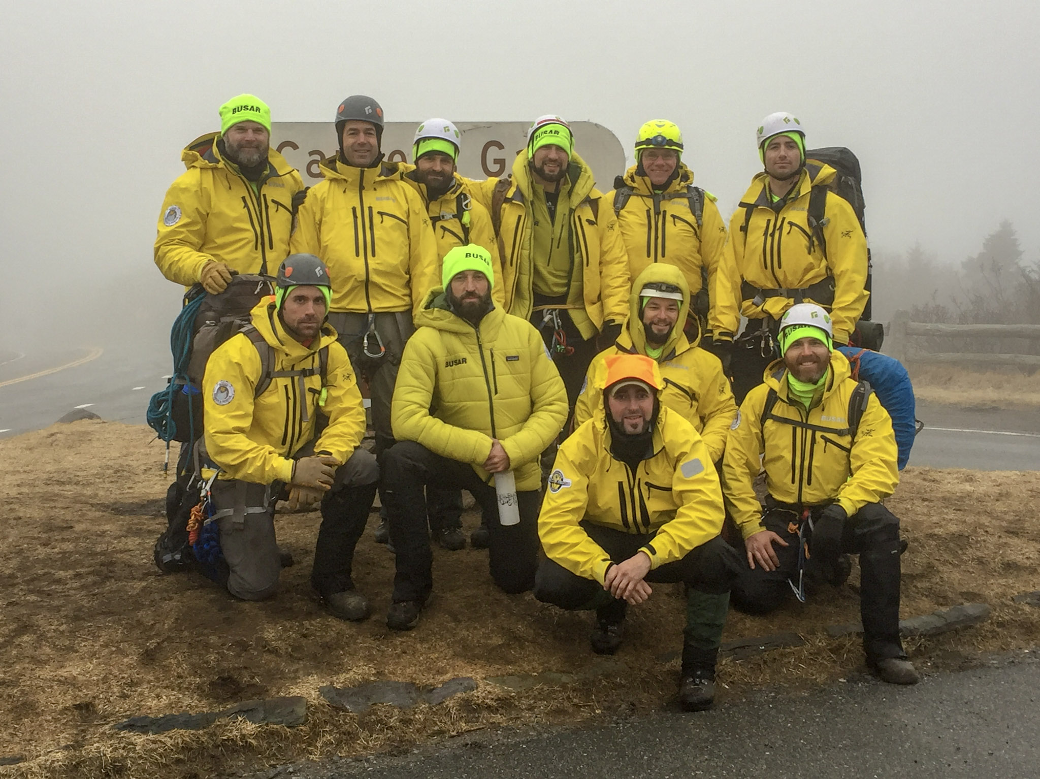 Team members during winter rescue training.
