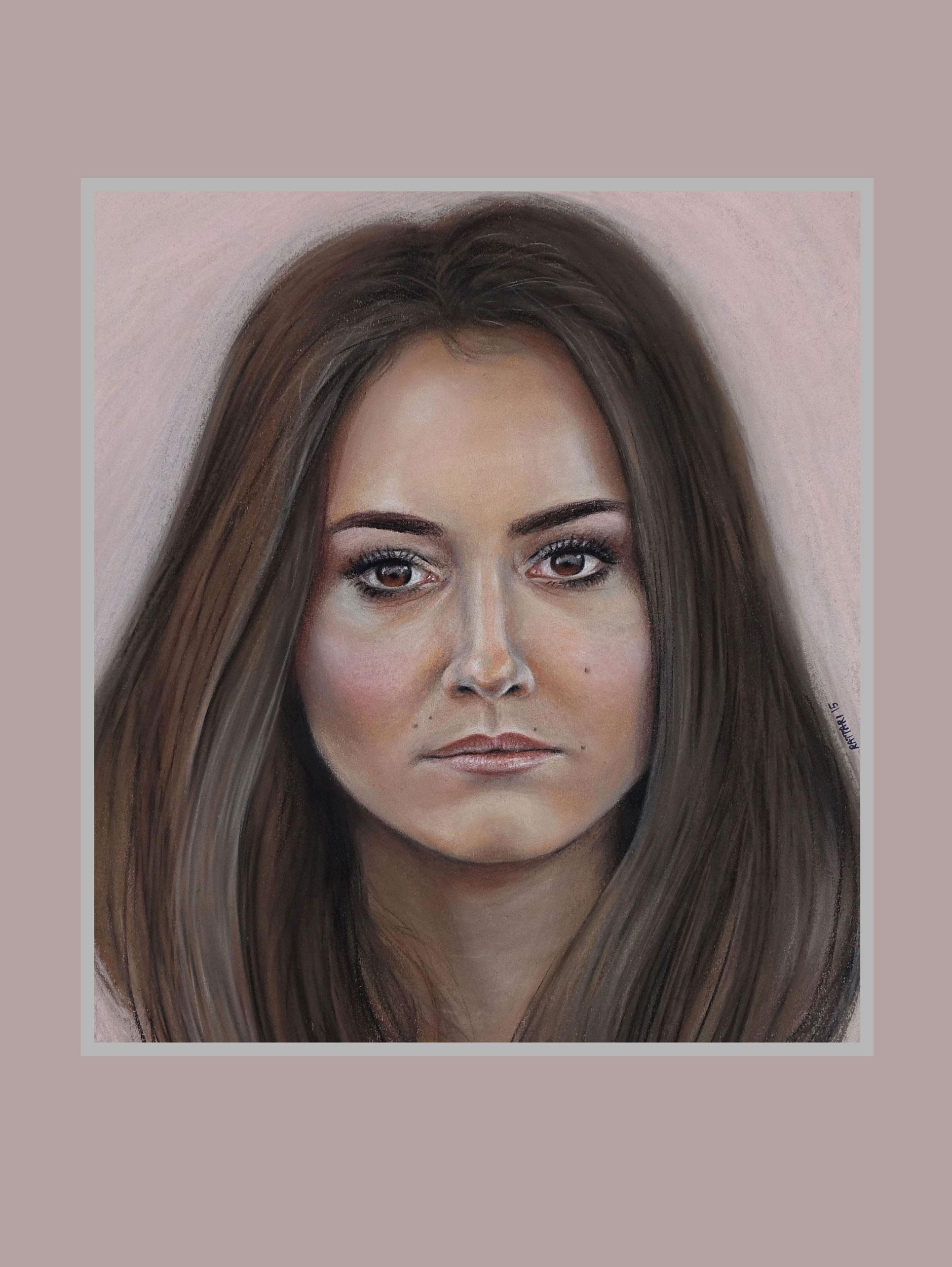 Pastel portrait on tan paper, 2015.