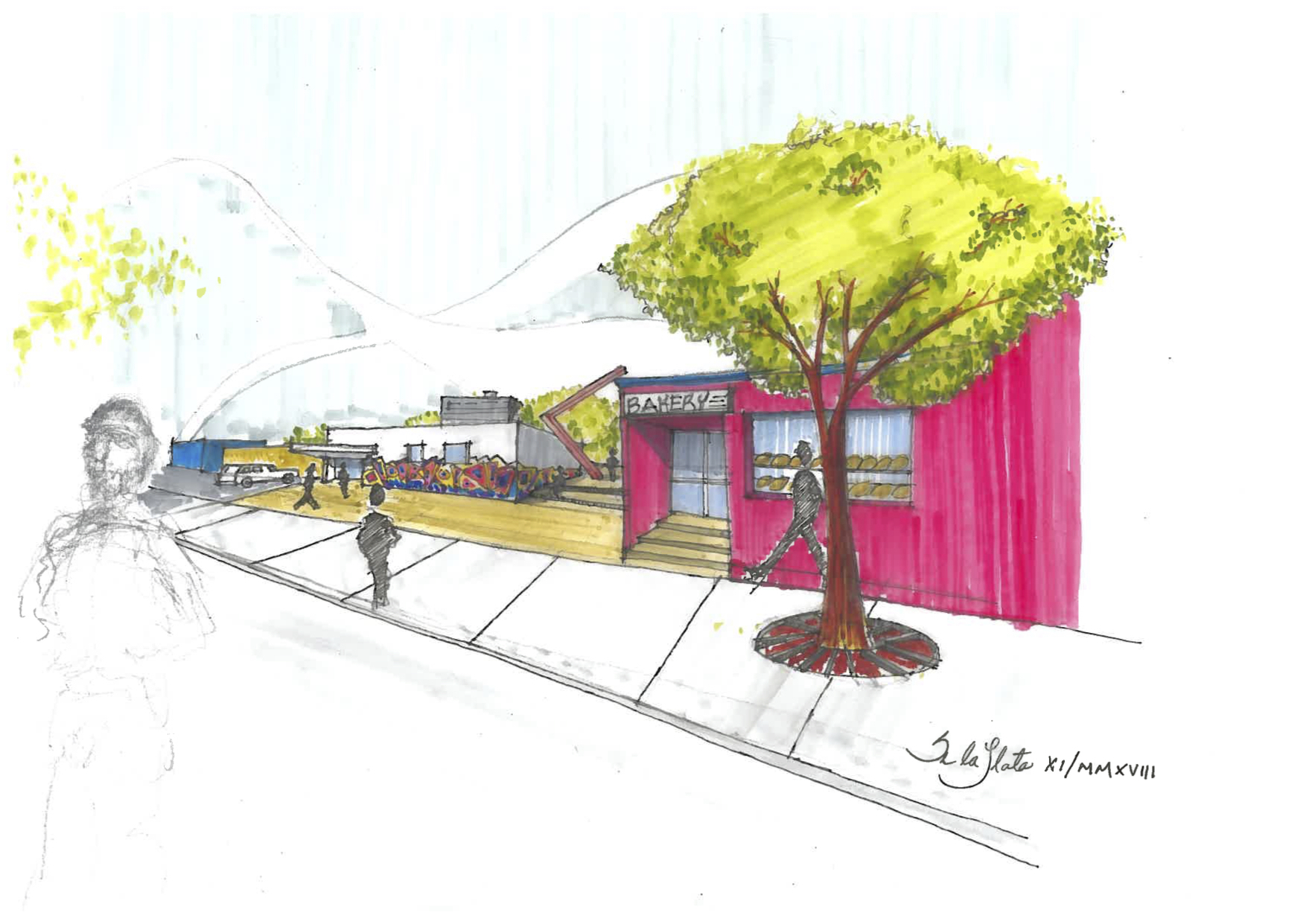 Project Idea for a public space in West Haven Community  (across Coffee Park) in Montreal. Here, A public space is projected in an alleyway to link the bakery and the community center. The sculpture connects conceptually with its counterpart on the other side of the rail tracks. Source. Author: Silvano De la Llata. 10 November 2018, Montreal, QC.