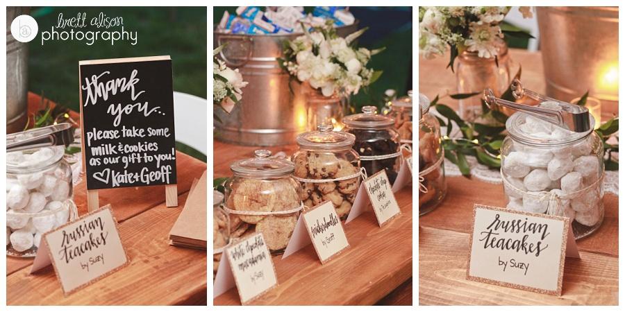 cookie bar wedding favors handwritten signs