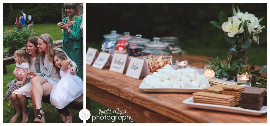 smores bar campfire backyard wedding