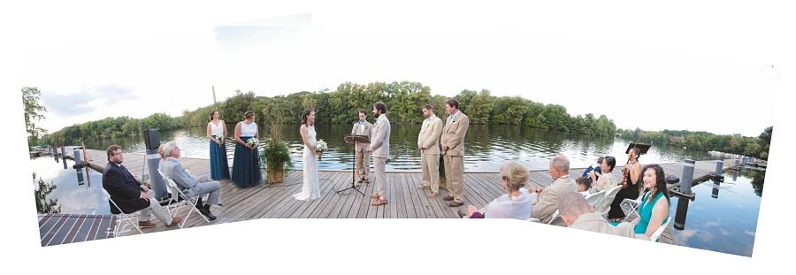 panoramic wedding river shot