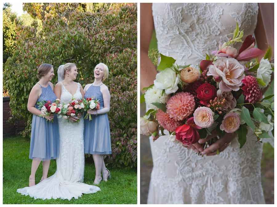 pink white and red wedding bouquet natural