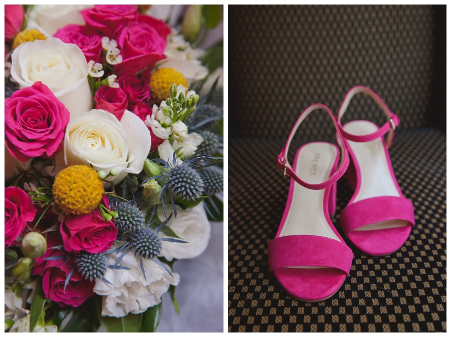 pink wedding shoes and details photos