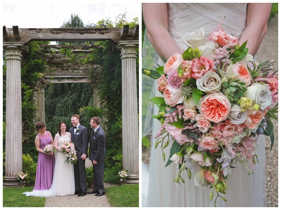 beautiful pink blush coral white succelent peony wedding bouquet