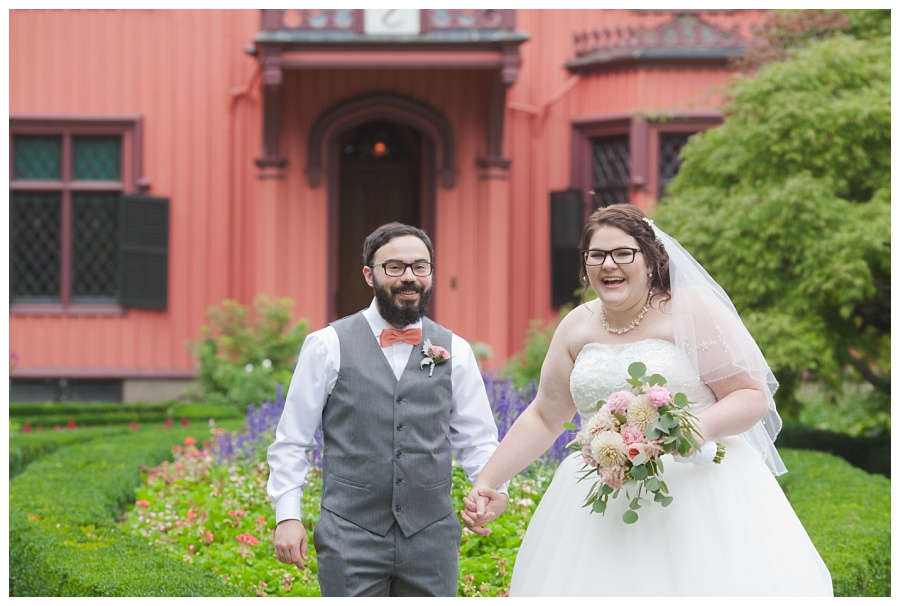 bride and groom wearing glasses
