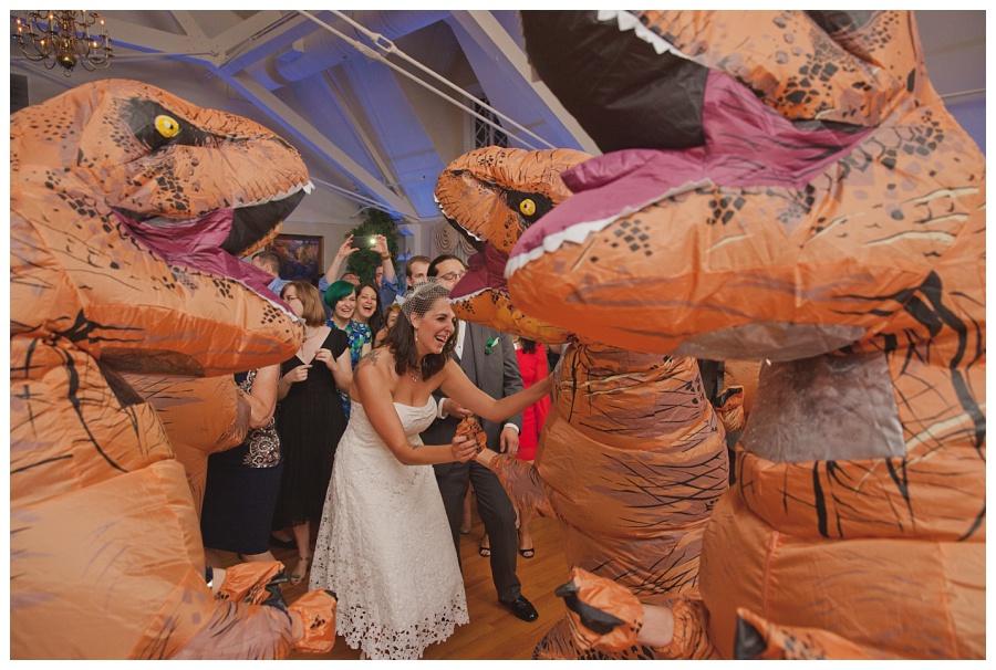 dancing dinosaurs at wedding