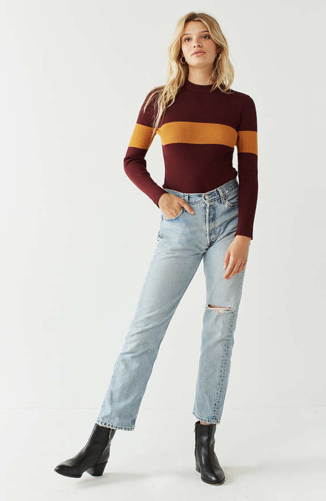 URBAN OUTFITTERS OUT FROM UNDER COLORBLOCKED SWEATER BODYSUIT ($59)