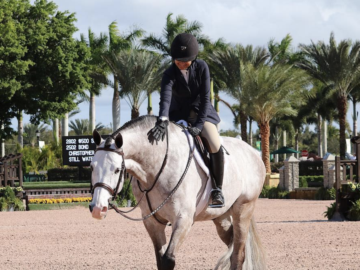 Isha and Bond after a winning round in the 3'6 Small Junior Younger Hunters in Wellington, FL