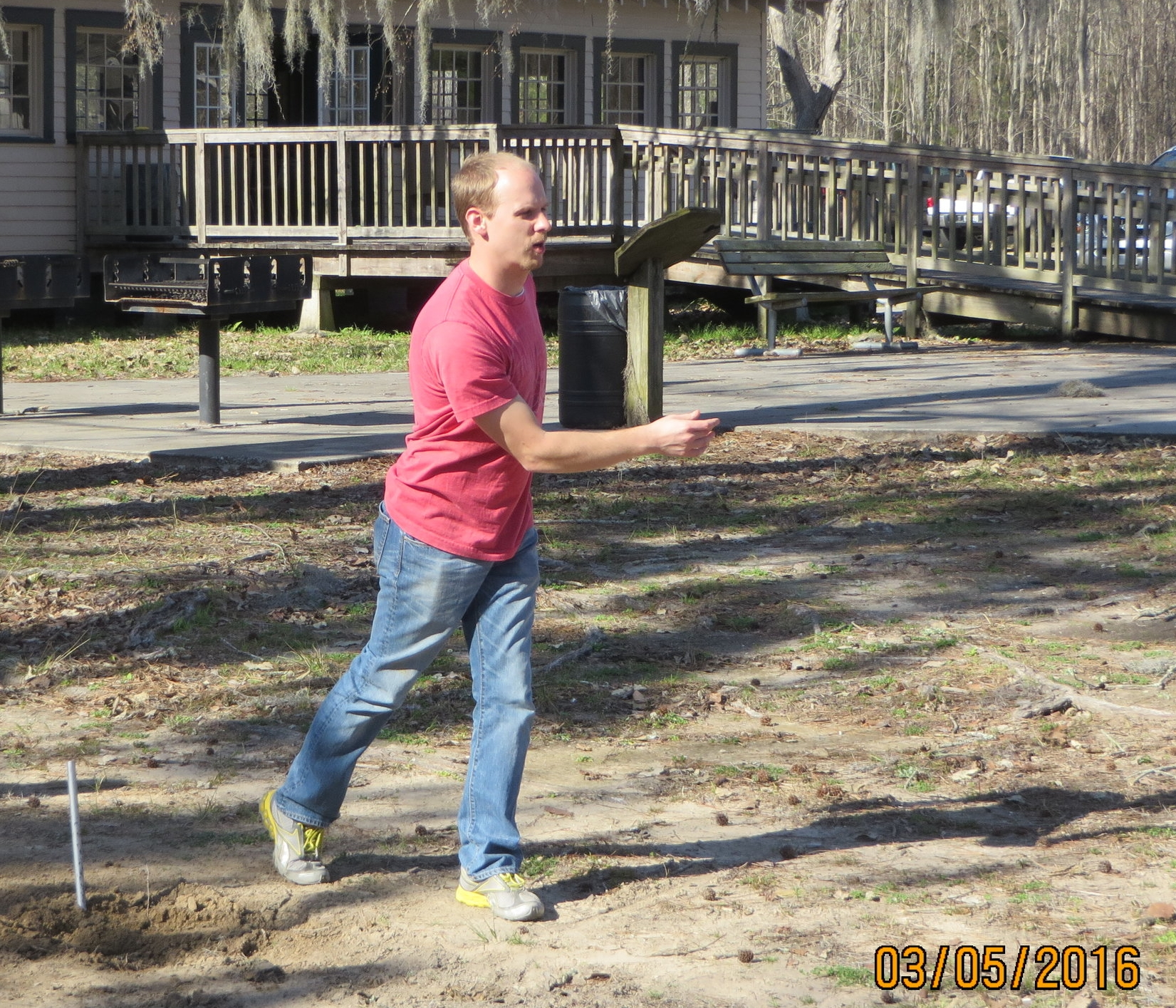 Pastor Shawn is always looking for a few good men for a game of horseshoes.