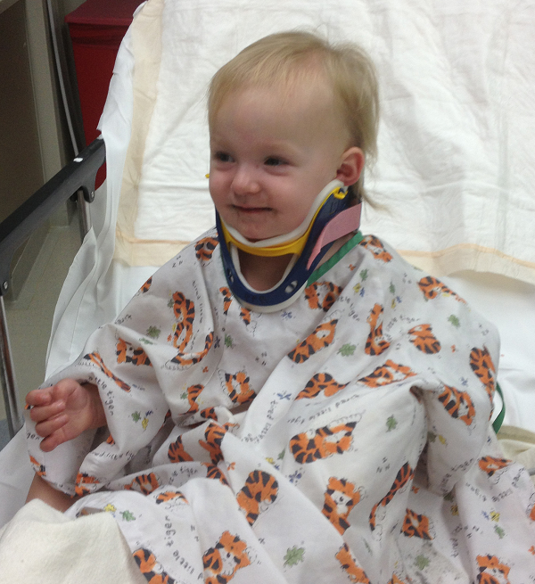 This photo was taken of baby Samantha while she was in her hospital bed. Look at that smile!