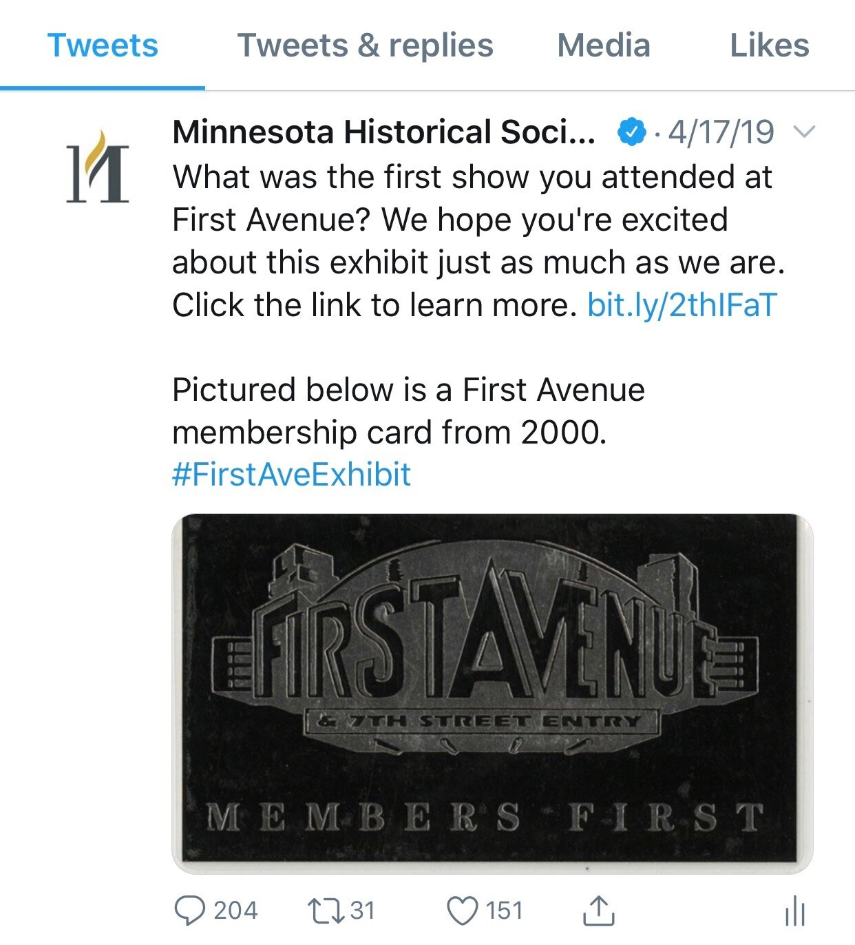 First Avenue Twitter Post
