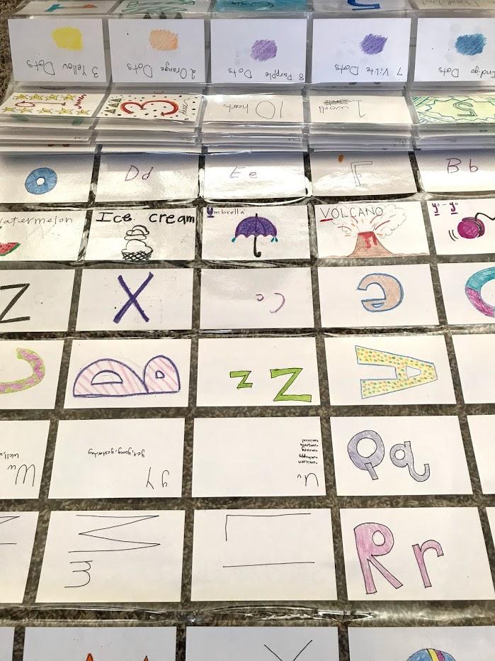 Sheets and sheets and sheets of laminated flashcards