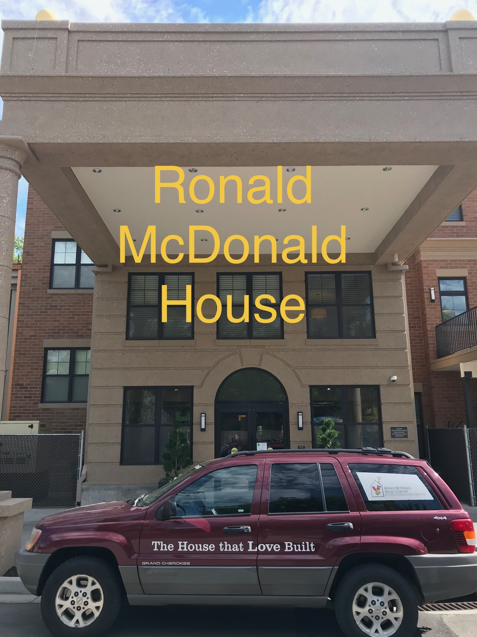 Pulling up to the Ronald McDonald House in Salt Lake City to drop off donated books.