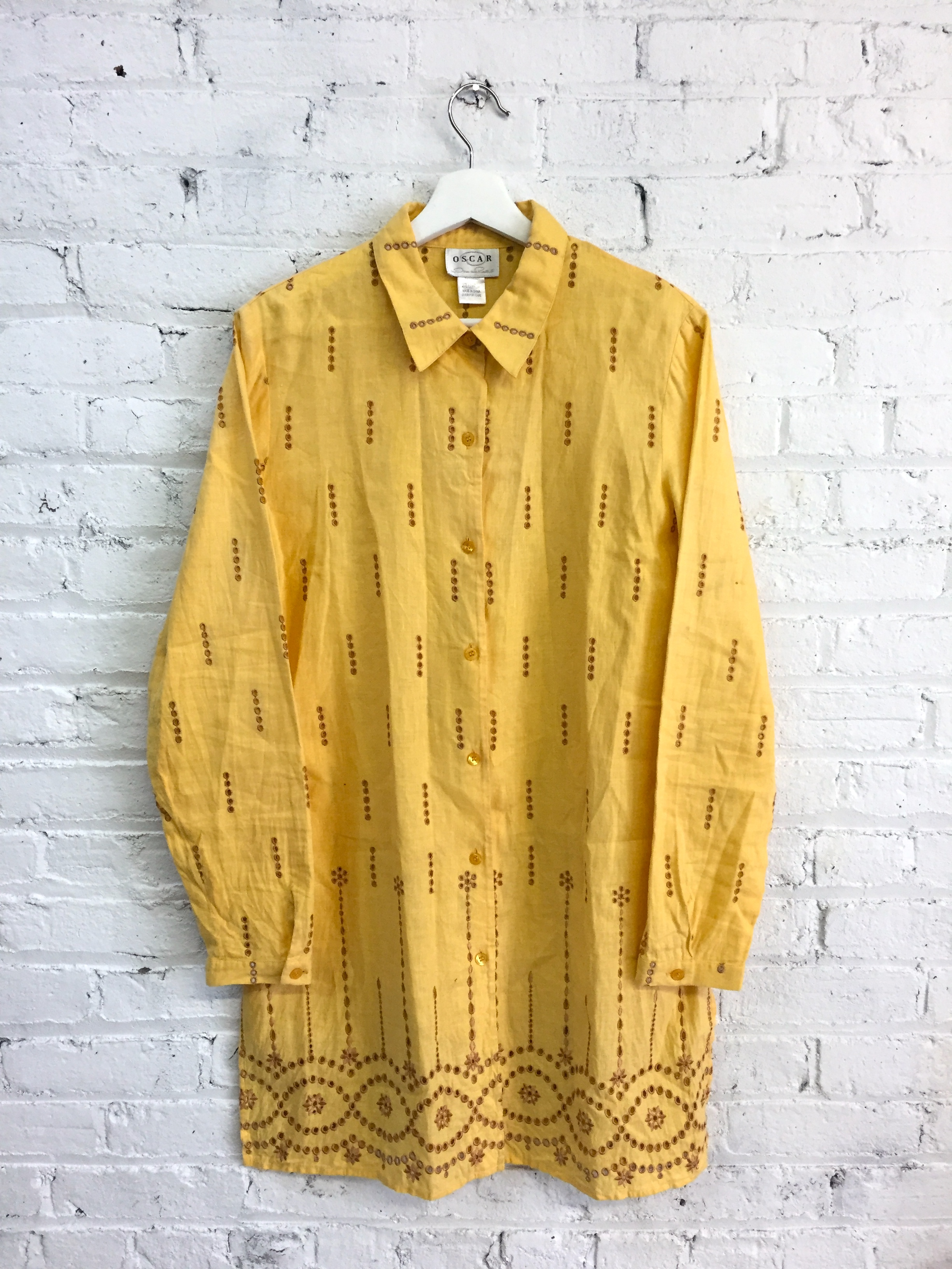 Vintage Oscar De La Renta Mustard Yellow Shirt Dress Cotton Linen Eyelet Dress Indian Inspired Yellow Dress Dusty Rose Vintage
