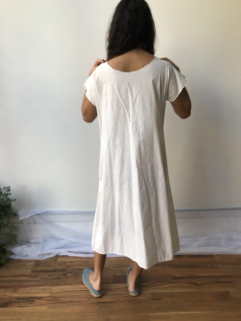 Artemis Cotton Eyelet Trim Dress Antique Vintage Embroidered White Ivory Muslin Nightgown