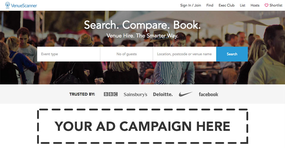 Reach 20k corporate organisers - Promote your offers and campaigns on the VenueScanner search engine homepage which receives >20k visits a month.