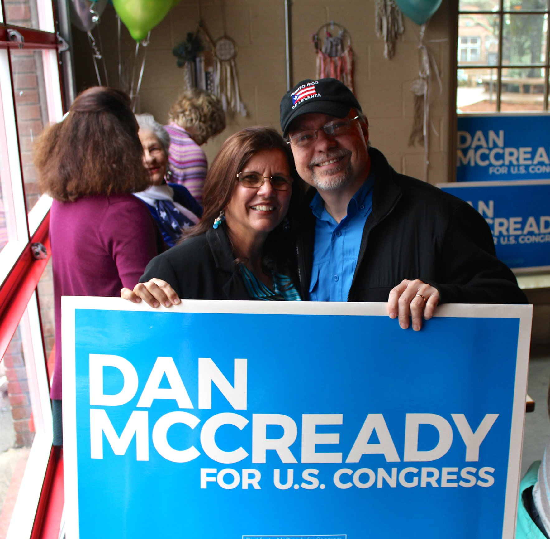 Indivisible District 9 participating in Dan McCready's campaign announcement in Waxhaw, NC.