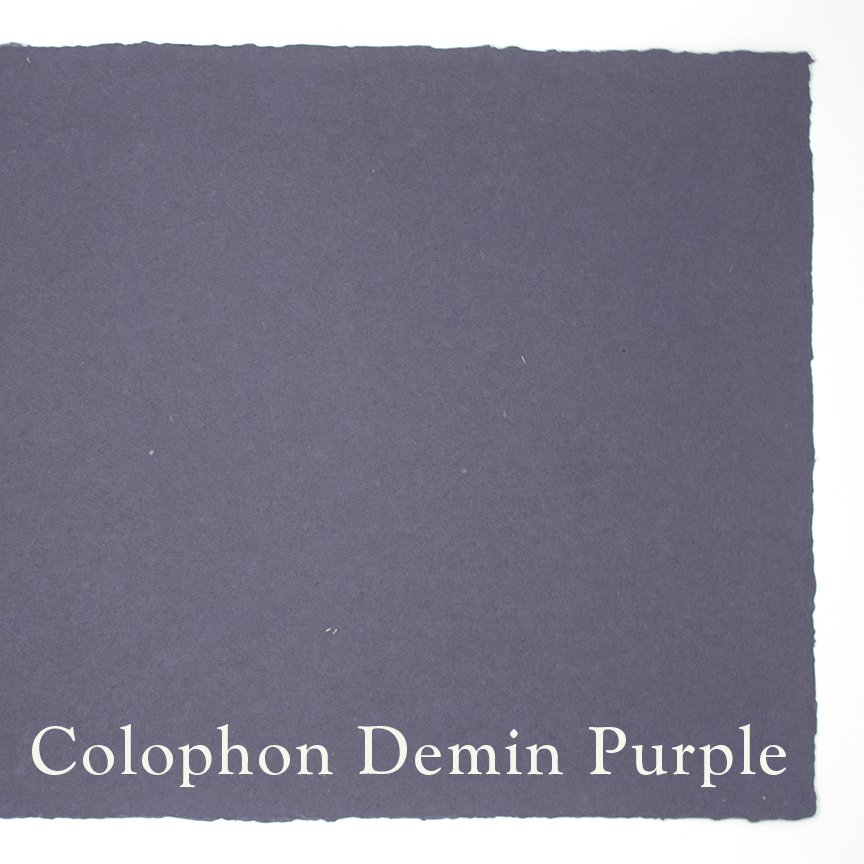 This is the same lovely denim with added pigment. This sheet is homage to the creator of Colophon – Nancy Morains – her favorite color purple.