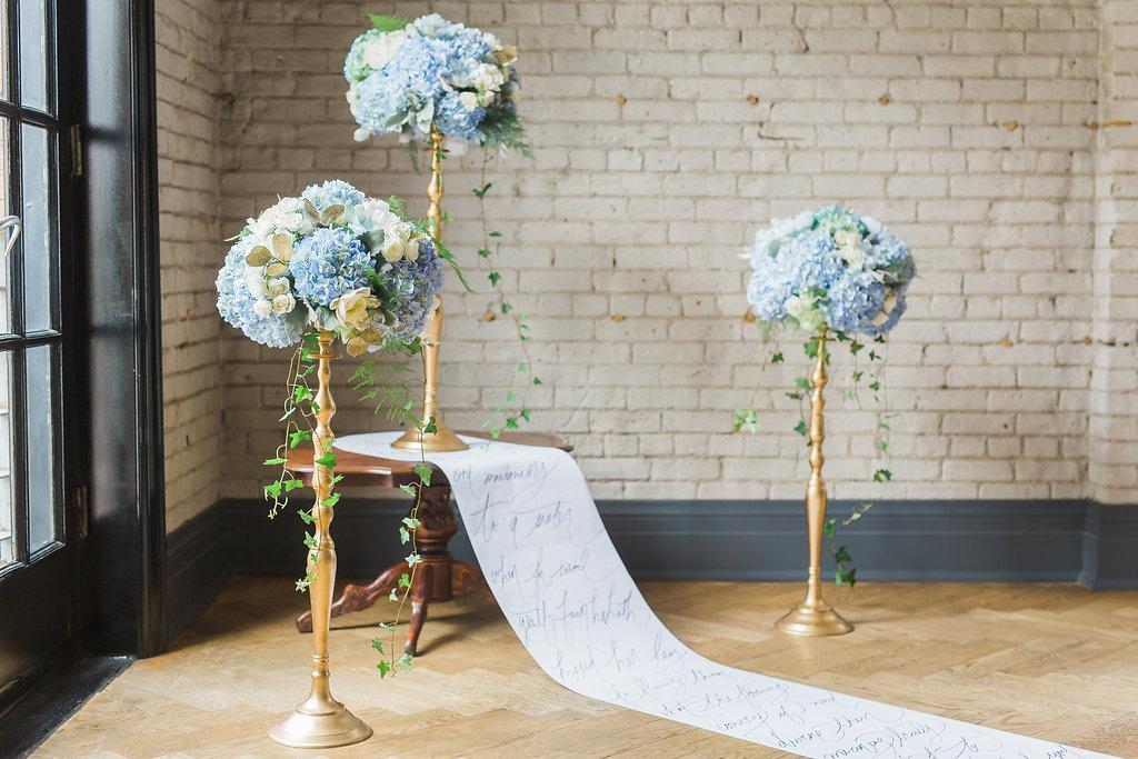 Story's Building Toronto_Ceremony Altar Light Blue Hydrangea Flower Arrangement by Bluumblvd