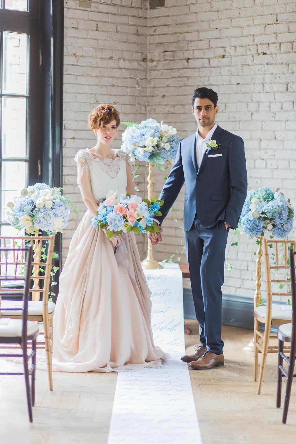 Story's Building_Toronto Ceremony Altar Light Blue Hydrangea Flower Arrangement by Bluumblvd