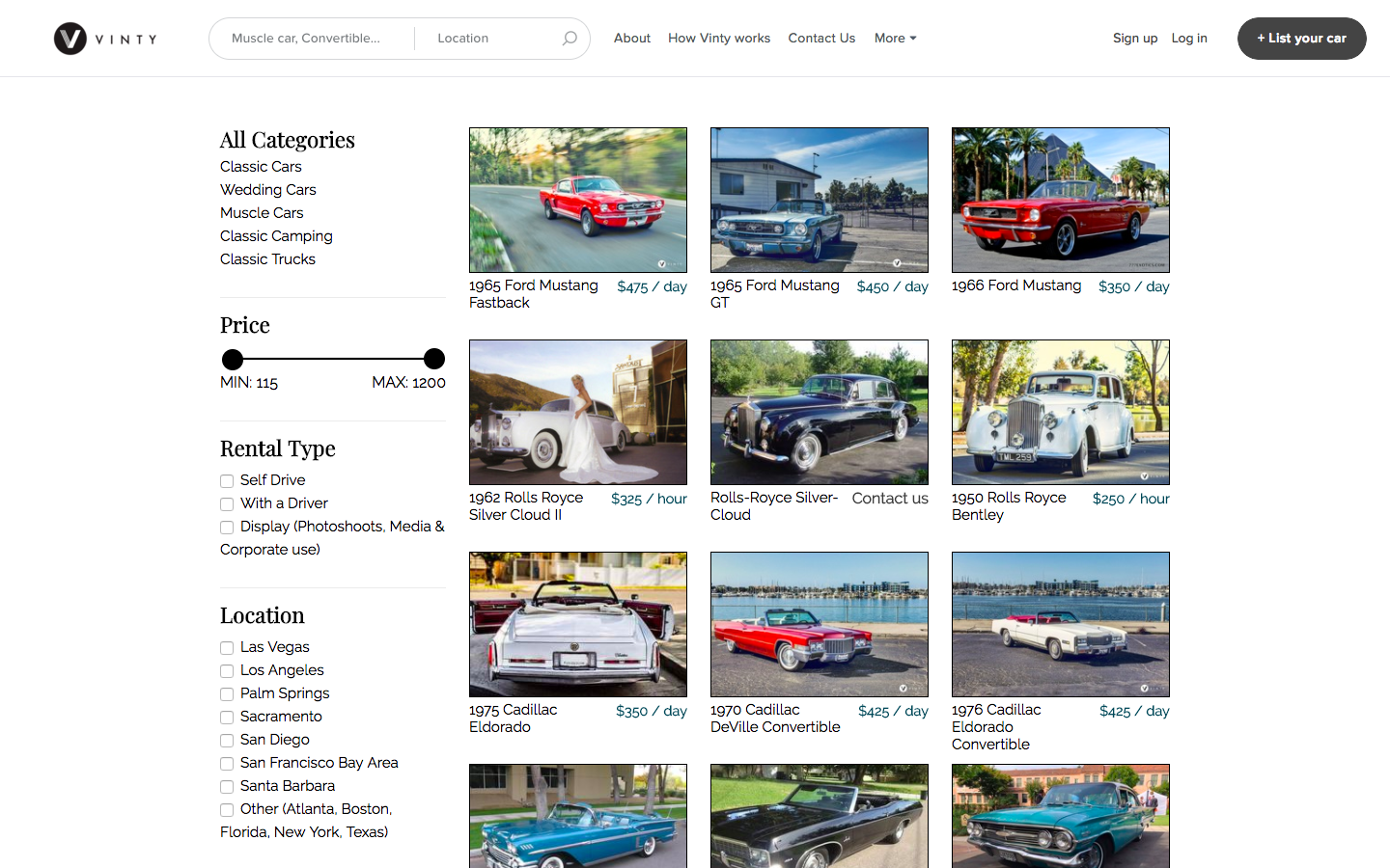 The Vinty Classic Car Rental Collection.