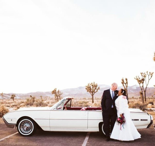 """""""My husband and I used Vinty for our vow renewal in Joshua Tree National Park. The 1962 convertible Thunderbird with our great driver, Joe, added the perfect touch to the celebration. The car was immaculate and the service before and during was excellent. I'd highly recommend Vinty for other clients looking for unique rides!""""😍⠀ •⠀ •⠀ •⠀ #classiccars #classiccar #carrental #carrentals #vintagecar #vintagecars #vinty #drivevinty #weddingcar #wedding #weddings #couple #marriage #weddingday #weddingdress #weddingphotography #weddingphotographer #thunderbird #weddingplanner #weddingparty #weddinginspiration #weddingideas #weddingtime #weddingseason #weddingphoto #drive #classic #carphotography #drivetastefully"""