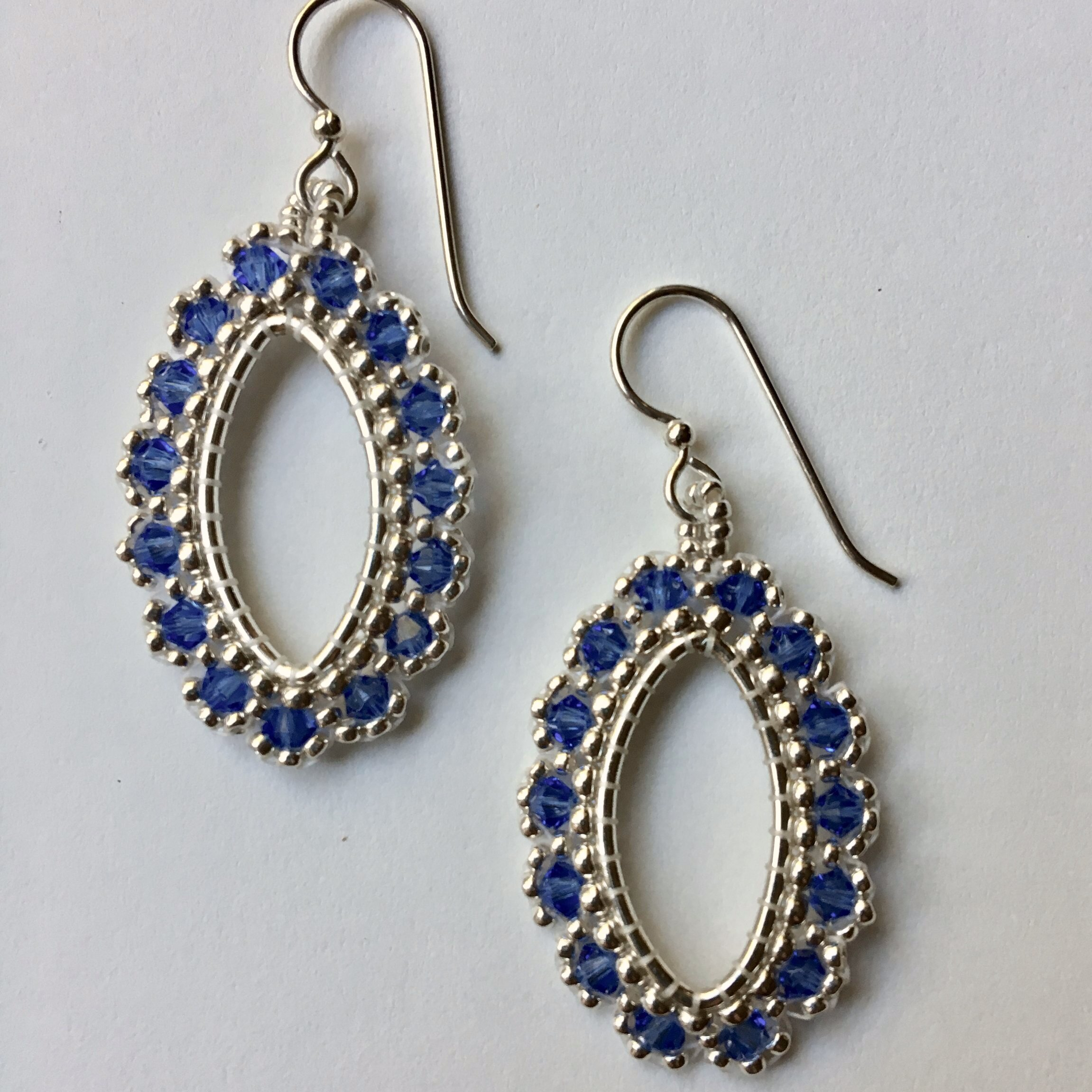 NEW! Silver and Sapphire Crystal Marquise Earrings